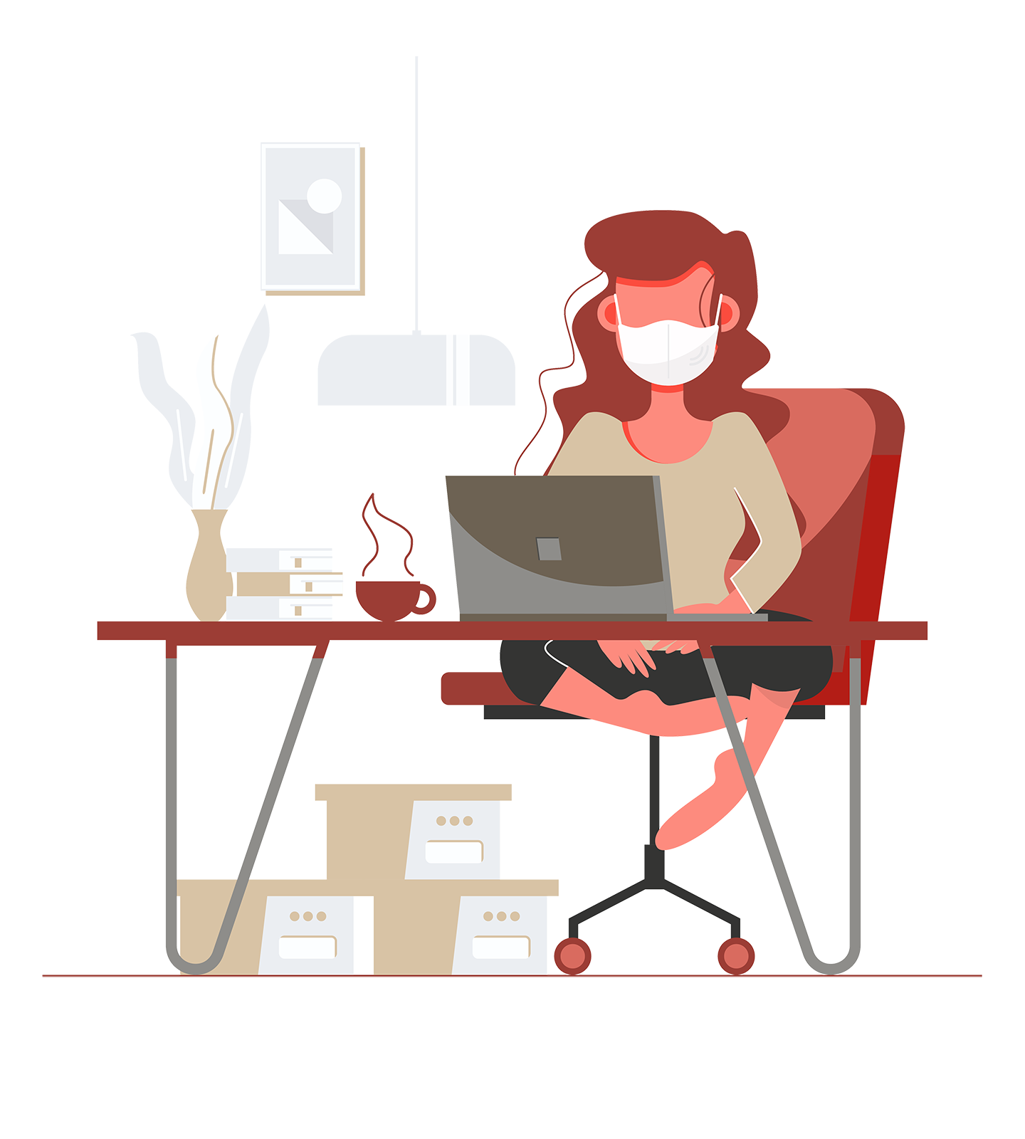 Woman in facemask working from home